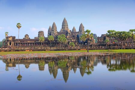 angkor wat: Angkor Wat -  Khmer temple in Siem Reap province, Cambodia, Southeast Asia. UNESCO World Heritage Site. Stock Photo