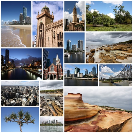 Photo collage from Australia. Collage includes major landmarks like Sydney, Melbourne, Brisbane, Perth and landscapes.