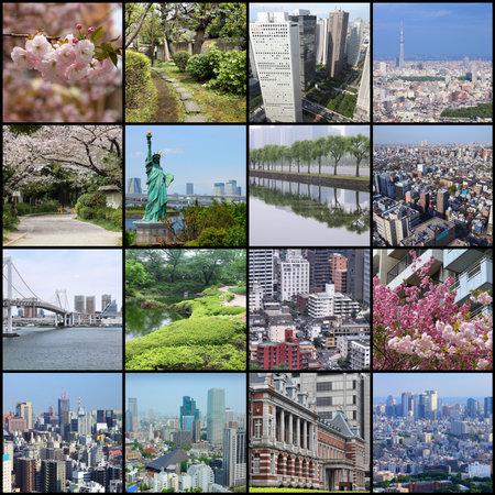 Photo collage from Tokyo, Japan. Collage includes major landmarks like Rainbow Bridge, Toshima ward, Chiyoda ward and Chuo ward.