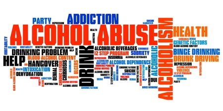 Alcohol abuse and alcoholism issues and concepts word cloud illustration. Word collage concept. illustration