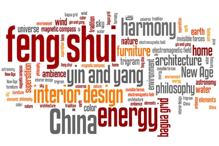 Feng shui concepts word cloud illustration. Word collage concept. Stock Photo