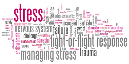 Stress emotionele problemen en concepten woordwolk illustratie. Word collage concept.