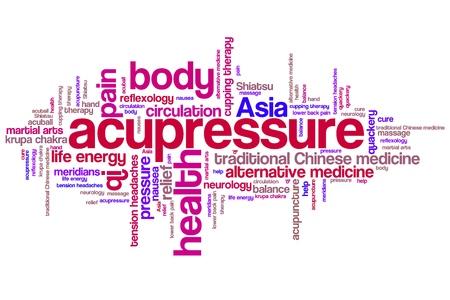 指圧代替医療問題や概念単語雲の図。単語のコラージュの概念。