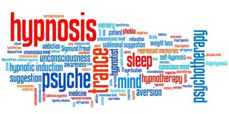 Hypnose vraagstukken en concepten woord wolk illustratie. Word collage concept.
