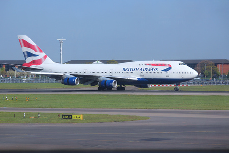 ba: LONDON, UK - APRIL 16, 2014: British Airways Boeing 747 after landing at London Heathrow airport. BA operates fleet of 283 aircraft (largest in the UK) and is largest operator of 747 with 55 aircraft (2014).