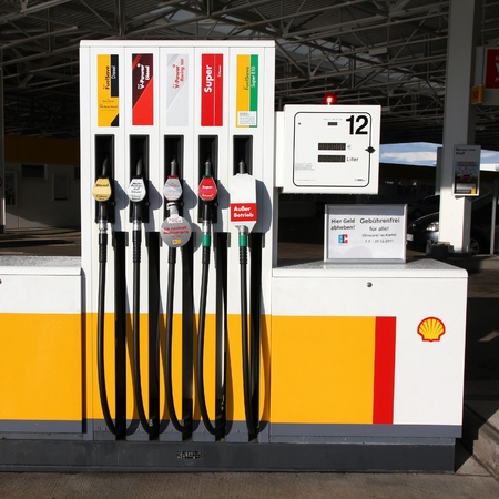 DEUBACHSHOF, GERMANY - SEPTEMBER 4, 2011: Shell gas station in Deubachshof, Germany. According to Forbes, Royal Dutch Shell oil company is the 5th largest corporation worldwide.