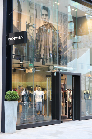 lvmh: MANCHESTER, UK - APRIL 22, 2013: DKNY (Donna Karan New York) fashion store in Manchester, UK. DKNY is part of LVMH Group which had EUR 28 billion revenue in 2012.