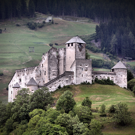 burg: Tyrol, Austria. Heinfels castle in Pustertal valley. Square composition.