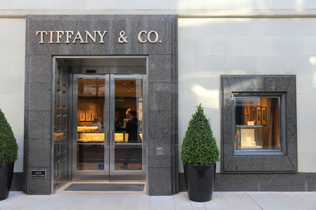 valued: LOS ANGELES, USA - APRIL 5, 2014: Tiffany and Co store in Beverly Hills, Los Angeles.  According to Millward Brown Tiffany & Co is among top 10 most valuable luxury brands - valued at $2.38 bn USD.