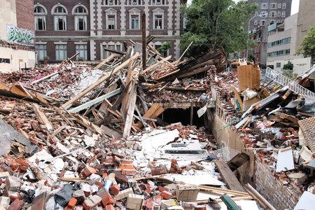 PHILADELPHIA, USA - JUNE 11, 2013: Building collapse area in Philadelphia. The unoccupied building collapsed during demolition on June 5, 2013 killing 6 and injuring 14 people.