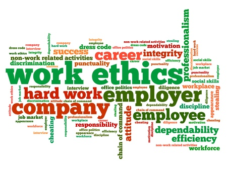 Work ethics issues and concepts word cloud illustration. Word collage concept. illustration