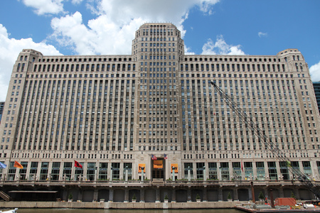 CHICAGO, USA - JUNE 28, 2013: Merchandise Mart building exterior. It was largest building in the world at the time of completion (1930) with 4,000,000 square feet of area.