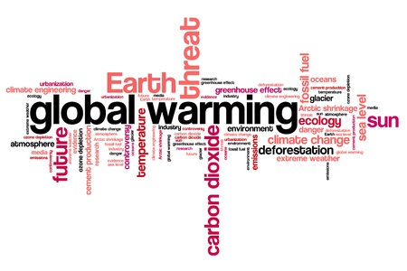 environmental issues: Global warming environmental issues and concepts word cloud illustration. Word collage concept. Stock Photo