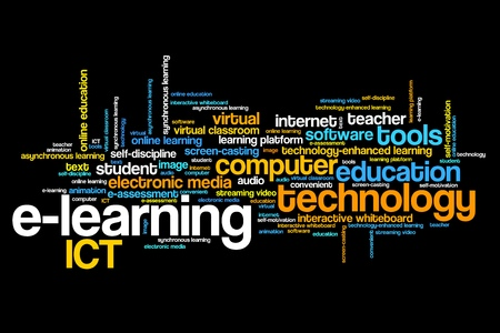 word collage: E-learning online course issues and concepts word cloud illustration. Word collage concept.