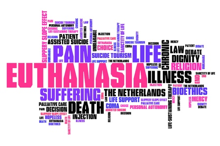 bioethics: Euthanasia issues and concepts word cloud illustration. Word collage concept.