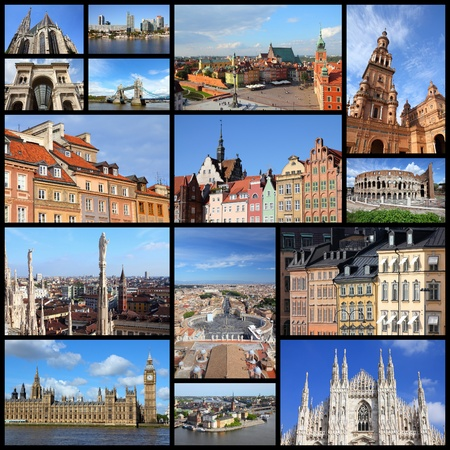 Photo collage from cities of Europe. Collage includes major cities like London, Rome, Stockholm, Vienna, Milan, Seville, Gdansk and Warsaw. photo