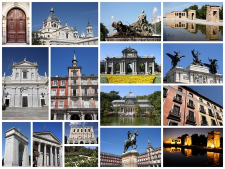 Photo collage from Madrid, Spain. Collage includes major landmarks like Retiro Park, Plaza Mayor, the Congress and Almudena Cathedral. photo