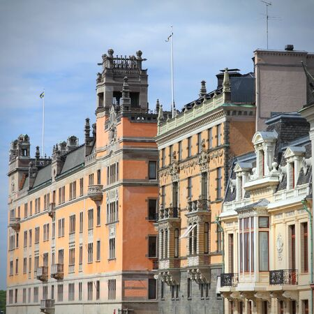 norrmalm: Stockholm, Sweden. Norrmalm borough, with colorful old architecture. Square composition. Stock Photo