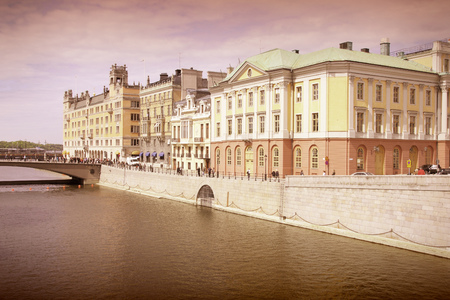 Stockholm, Sweden. Norrmalm borough, with colorful old architecture. Cross processed color tone - retro image filtered style.