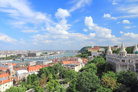 Budapest, Hungary - cityscape with Danube river and Fishermans Bastion. photo