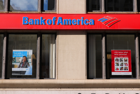 NEW YORK, USA - JULY 4, 2013: Bank of America branch on in New York. Bank of America is the 2nd largest bank holding in the USA with assets of 2.1 trillion USD (2013).