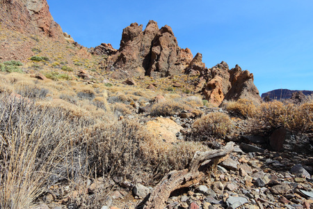 Tenerife, Canary Islands, Spain. Roques de Garcia - rock formations in volcano Teide National Park. photo