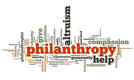 donations: Philanthropy issues and concepts word cloud illustration. Word collage concept. Stock Photo