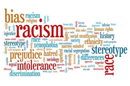 hatred: Racism - social issues and concepts word cloud illustration. Word collage concept.