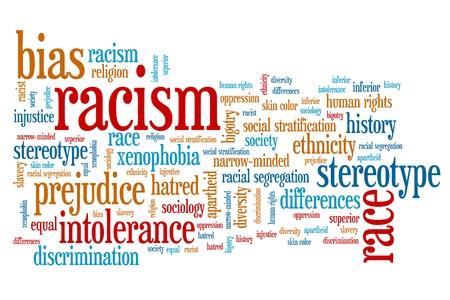 Racisme - maatschappelijke vraagstukken en concepten woord wolk illustratie. Word collage concept.