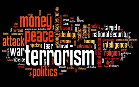 political and social issues: Terrorism issues and concepts word cloud illustration. Word collage concept. Stock Photo