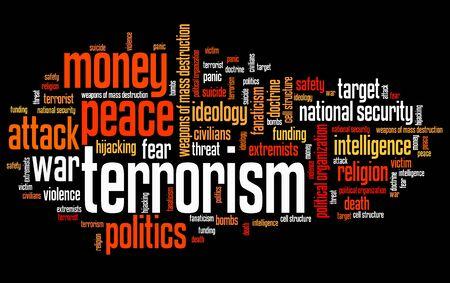 Terrorisme kwesties en concepten woord wolk illustratie. Word collage concept.