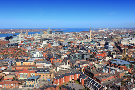Liverpool - city in Merseyside county of North West England (UK). Aerial view. photo
