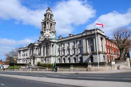 the old town hall: Stockport in North West England (UK). Part of Greater Manchester. Town Hall.