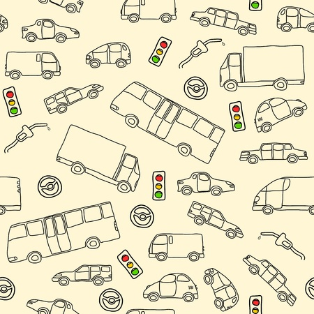 Doodle seamless background texture illustration - vehicle collection with cars, vans, trucks and a bus. Traffic lights and fuel nozzle. Vector