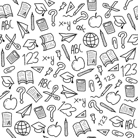 Seamless background with school object icon and symbols. Education background doodle. Vettoriali