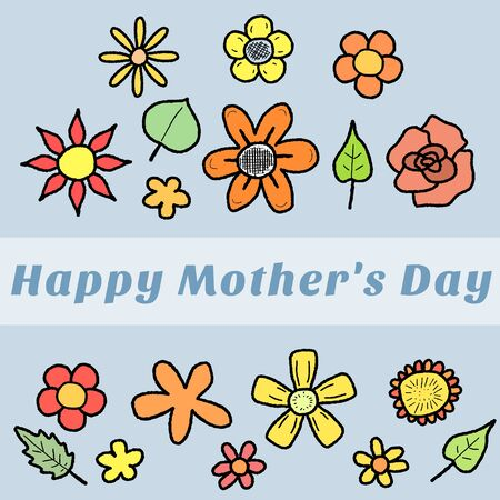 Happy Mothers Day - greeting card with colorful doodle flowers. Holiday celebration. Vector