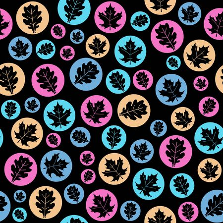 Seamless texture with maple and oak leaves in circles. Natural background illustration. Vector