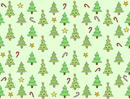 Seamless texture with Christmas trees and stars. Holiday background doodle. Vector