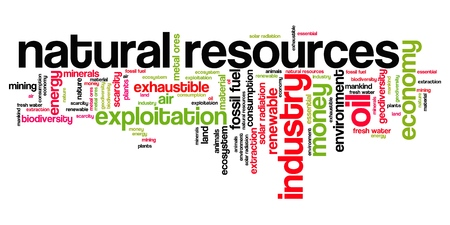 exploit: Natural resources issues and concepts word cloud illustration. Word collage concept. Stock Photo
