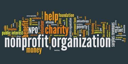 Non-profit organisaties vraagstukken en concepten woord wolk illustratie. Word collage concept. Stockfoto