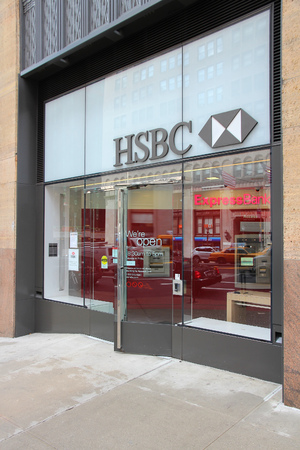 bank branch: NEW YORK, USA - JULY 3, 2013: HSBC Bank branch on in New York. HSBC is one of largest bank groups, holding assets of $2.69 trillion worldwide (2012).