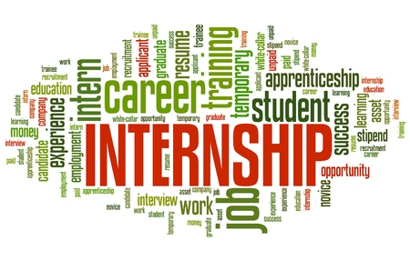 Internship - career issues and concepts word cloud illustration. Word collage concept. Stock Photo