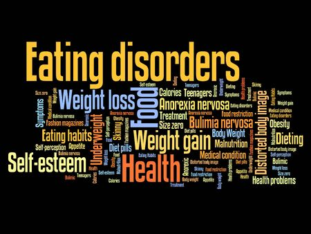 bulimia: Eating distorder concepts word cloud illustration. Word collage concept.