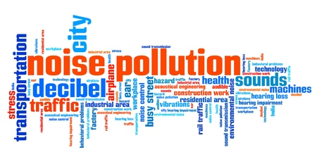 Noise pollution - urban noise issues and concepts word cloud illustration. Word collage concept. Stockfoto