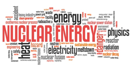 controversy: Nuclear power - energy generation issues and concepts word cloud illustration. Word collage concept. Stock Photo