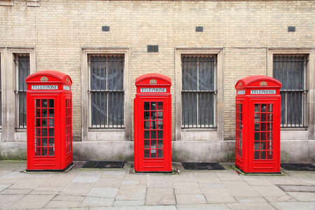 London, United Kingdom - red telephone boxes of Broad Court, Covent Garden. photo