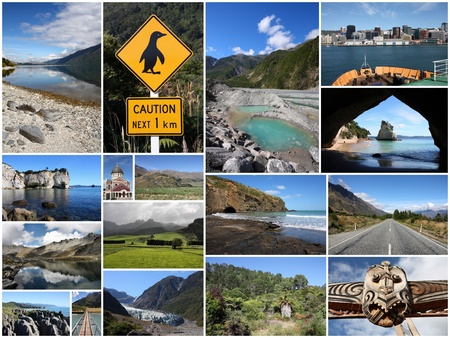 major ocean: Photo collage from New Zealand. Collage includes major landscapes with mountain, glaciers, ocean and beaches.