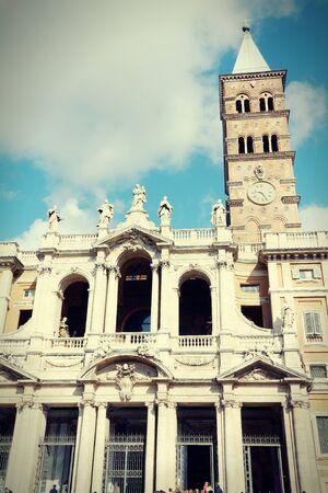cross processed: Basilica of Santa Maria Maggiore. One of four papal basilicas. Cross processed color style - retro image filtered tone.