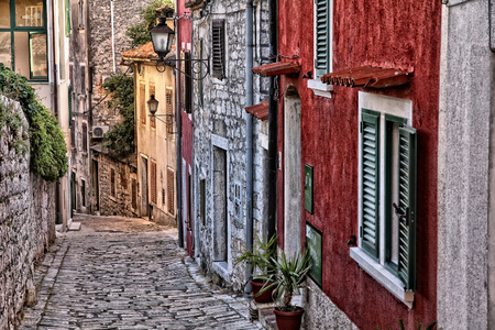 cobbled: Croatia - Rovinj on Istria peninsula Old town cobbled street. Stock Photo