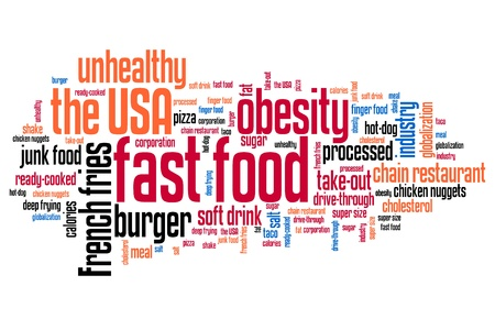 Fast food - unhealthy diet concepts word cloud illustration. Word collage concept. illustration
